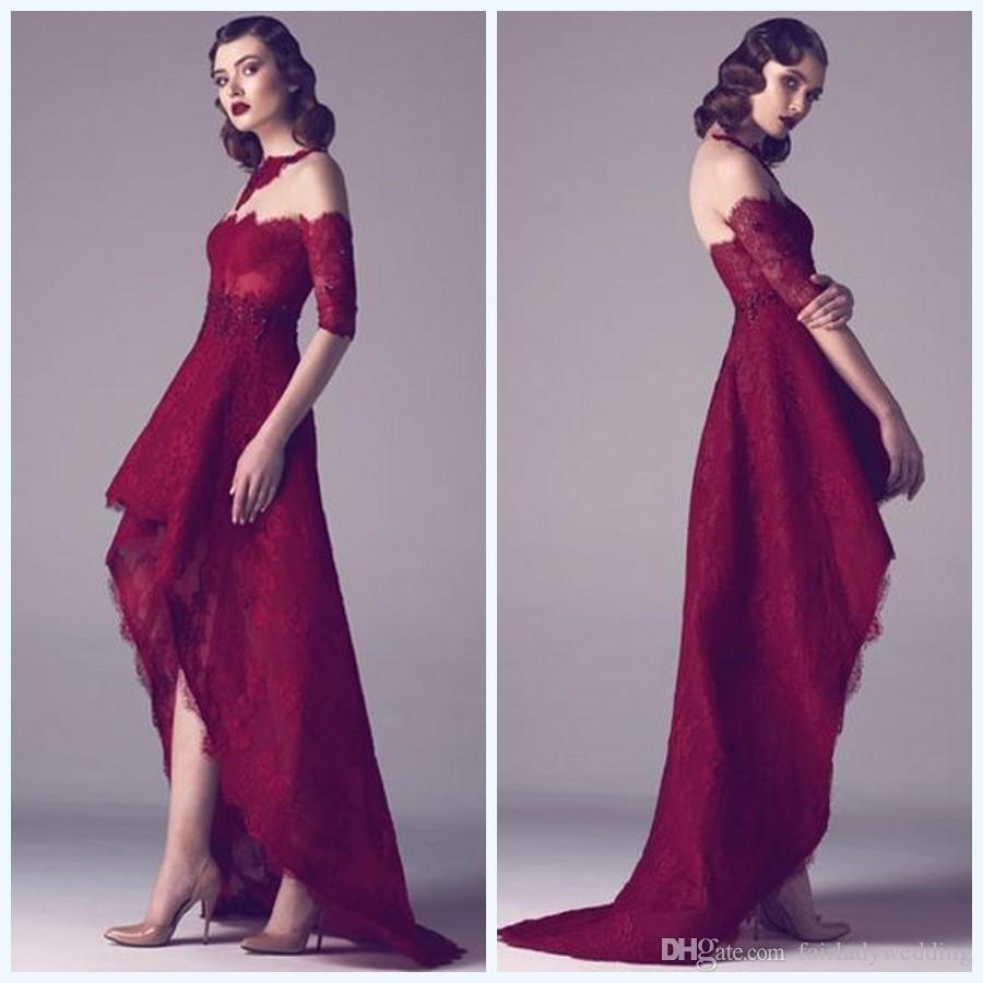 Compre Fadwa Baalbaki Primavera Borgoña Vestidos De Noche Media ...