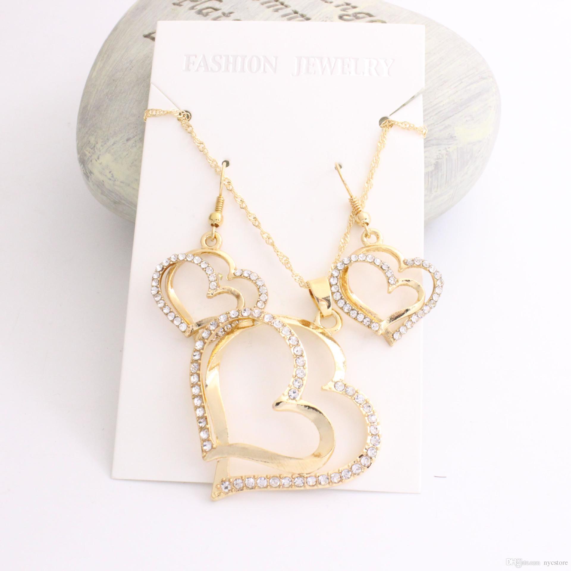 Luxus Hochzeit Halskette und Ohrring Set Fashion Gold Silber Kristall Charm Herz Schmuck