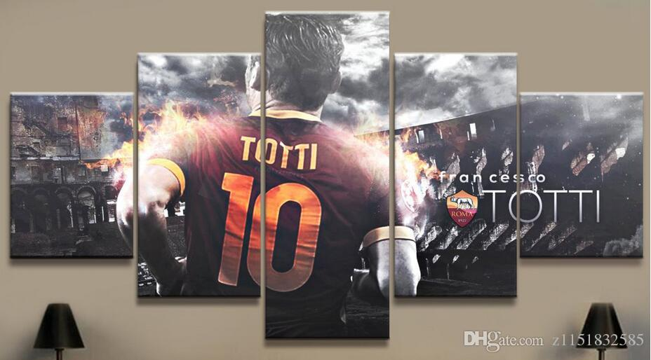 5 Panel Totti AS Roma Serie A Tela Stampata Pittura Living Picture Wall Art HD Stampa Decor Modern Artworks Poster di calcio