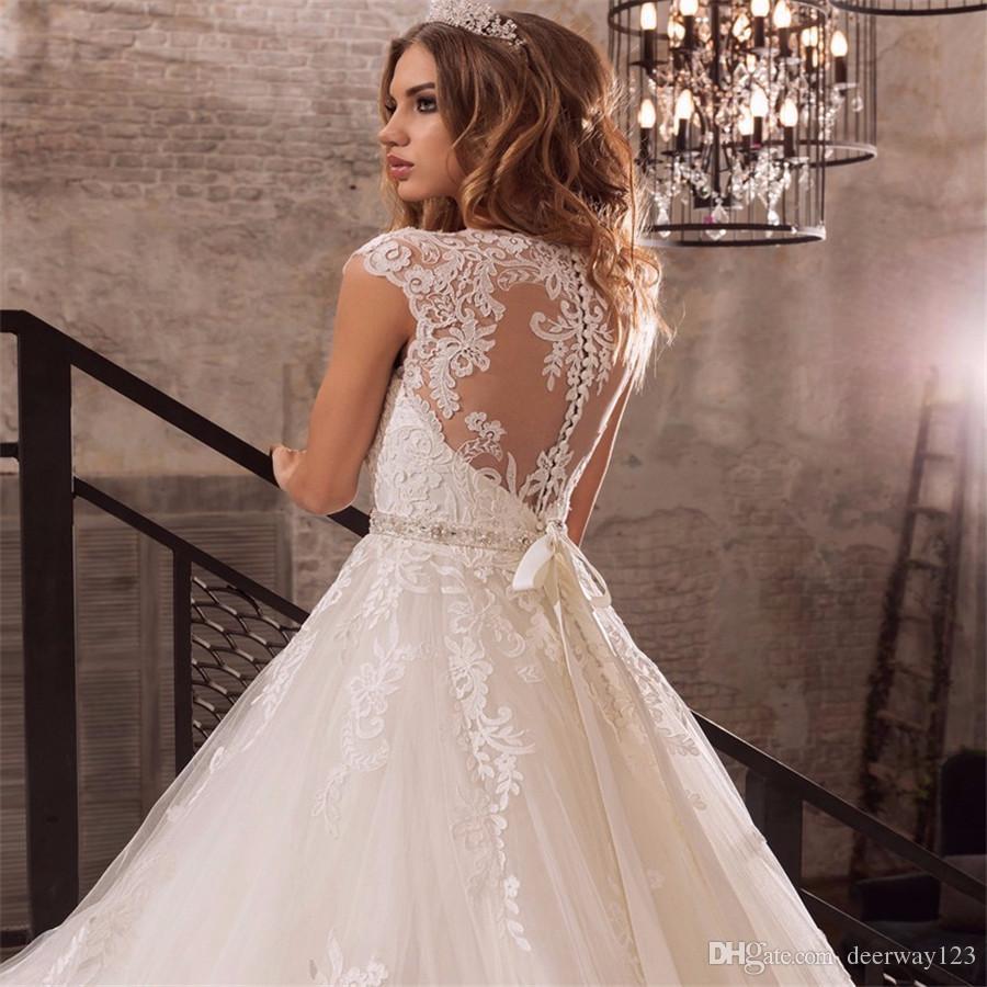 Cap Sleeves Beaded Sash Weddding Dress Vestidos Beading Sash Illusion Back Wedding Gowns De Noiva Applique