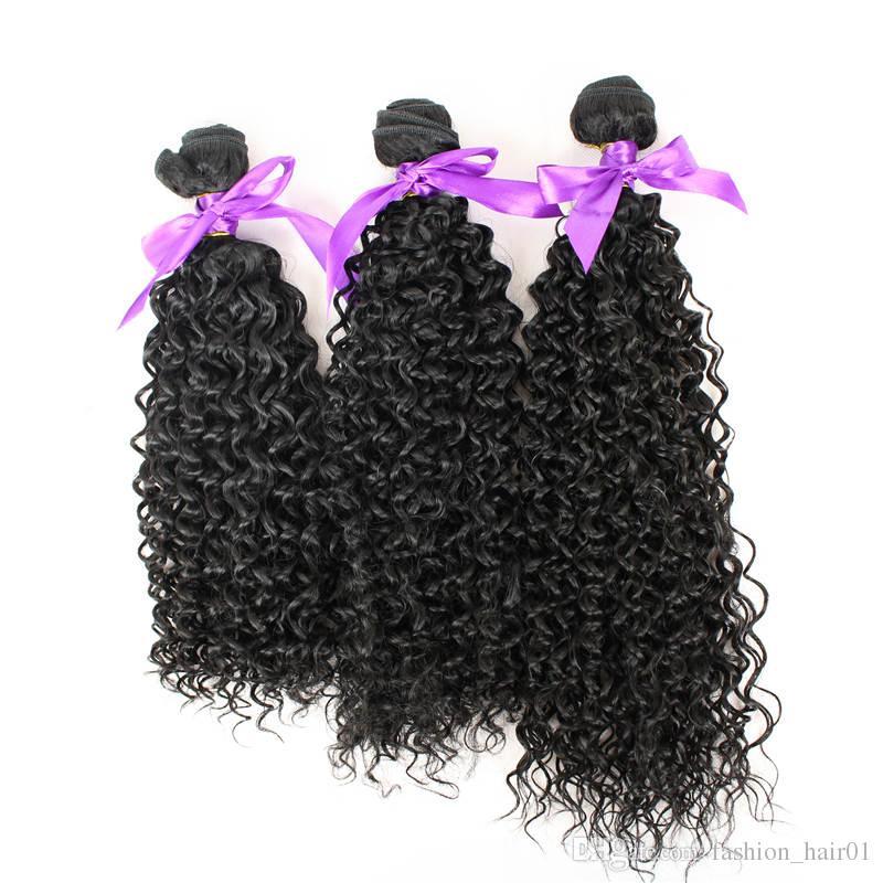 Tejido del pelo de alta calidad Suave y recta onda profunda Rizado Fibra color natural 1B Alta temperatura Extensión del pelo de la trama del pelo sintético