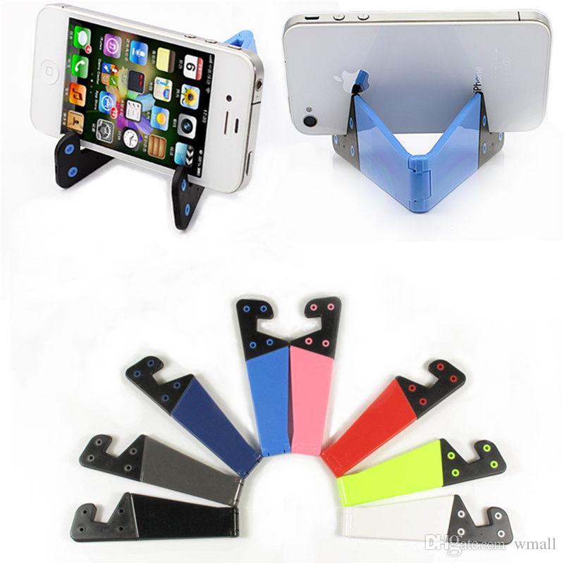 Universal cell Phone Holder Folding V Shape Desk Stand Holder Bracket for iPhone 7 plus Samsung S8 S7 edge free DHL