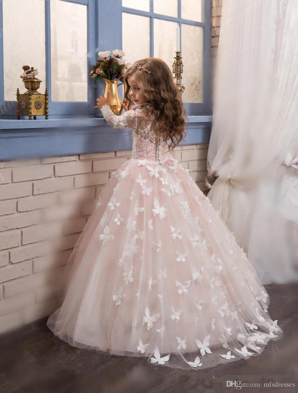2017 nueva princesa de color rosa caliente de manga larga vestido de bola vestido de la muchacha de flores barrido del tren de las niñas primera comunión vestido de encaje de boda de las muchachas