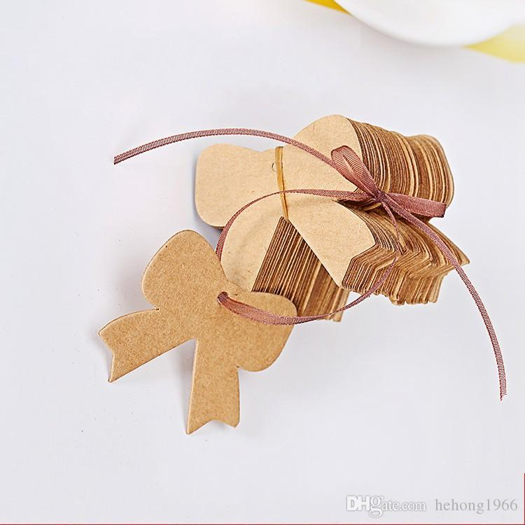 Bowknot Shape Greeting Card Kraft Paper Blank Words Label For Boys And Girls Clothing Tag Durable 0 03xq B R