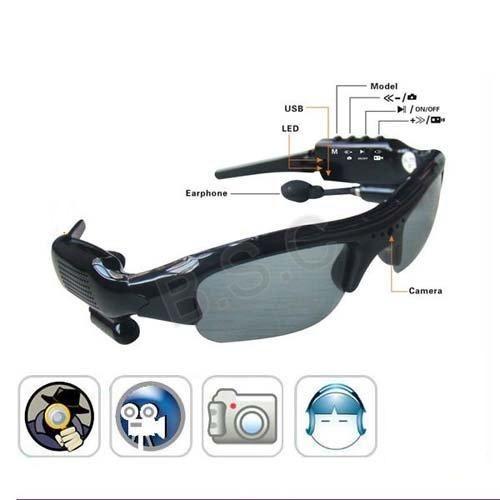 Cámara de gafas de sol con reproductor de MP3 Bluetooth Gafas populares Grabadora de video digital Seguridad portátil Mini videocámara Mini gafas de sol DVR
