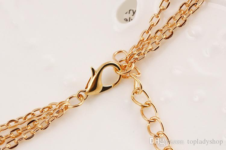 Fashion crystal rhinestone sequins necklace temperament multi - layered metal pendants chain clasp jewelry wholesale