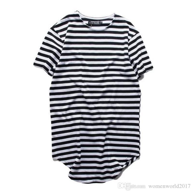 Mens Urban Style Clothing Longline T Shirts Extended Hipster Hip Hop Swag Short Sleeve Striped Oversized Tees Teeshirt For Men