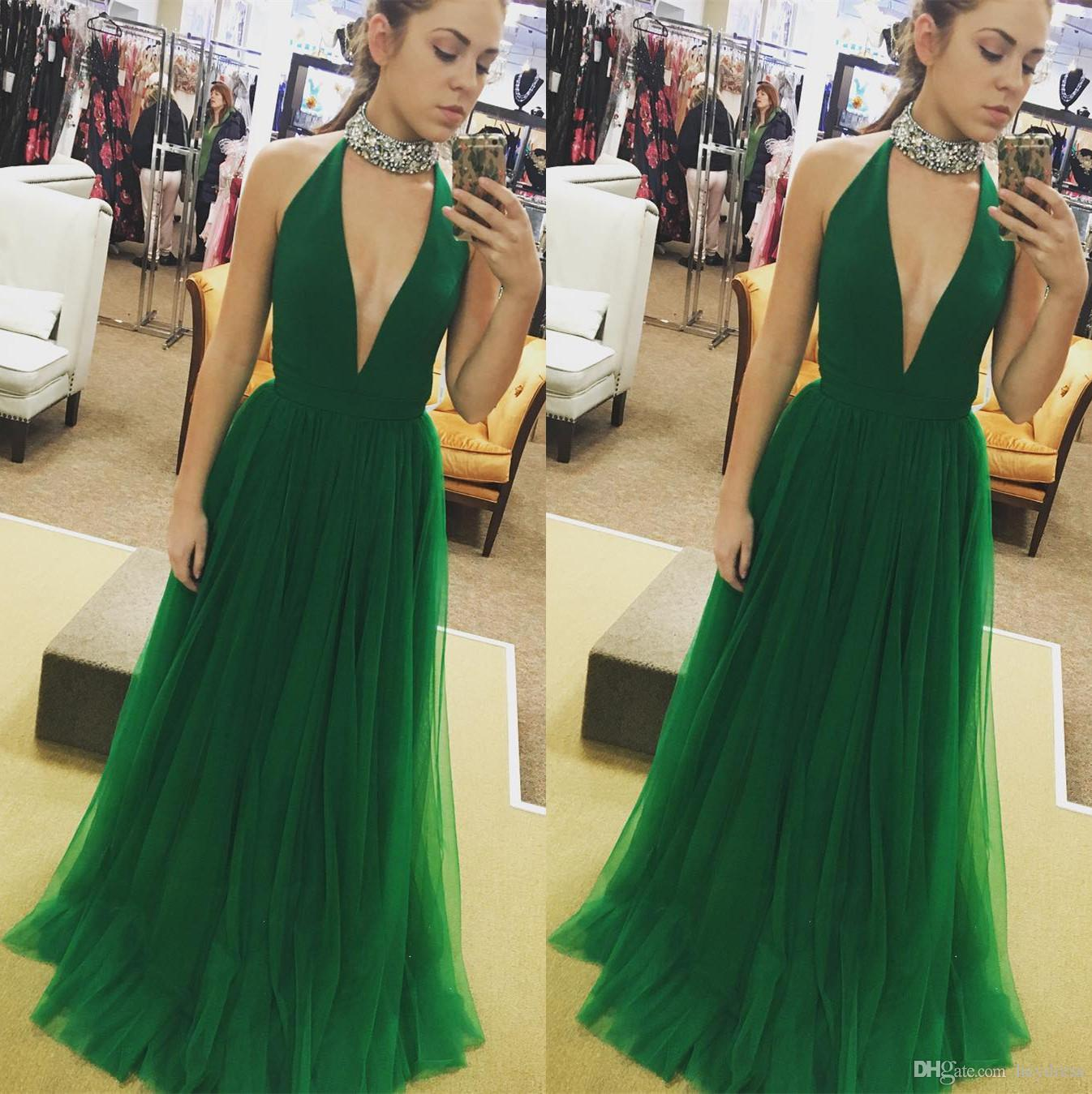 Jade Green Prom Dresses Plus Size 2017 Deep V Neck A Line Tulle