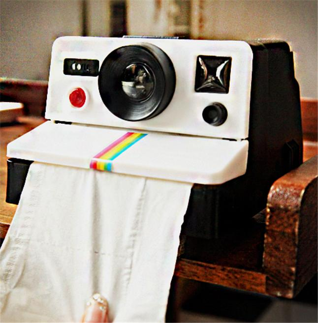 Wholesale- Creative Polaroid Camera Shape Inspired Tissue Boxes/ Toilet Roll Paper Holder Box Bathroom Accessories