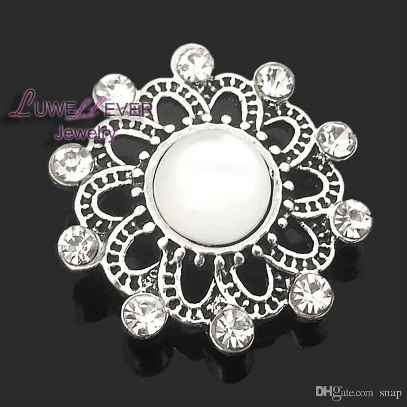 High quality heart flowers W164 18mm 20mm rhinestone metal button for snap button Bracelet Necklace Jewelry For Women Silver jewelry