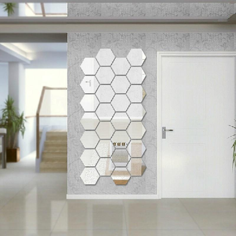 modern creative 3d silver mirror geometric hexagon acrylic wall