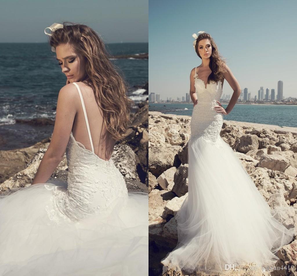 42da4f3933c00 Cheap Mermaid Wedding Dresses 2017 Sexy Summer Beach Lace Appliques Tulle  Backless Plus Size Sweep Train Custom Wedding Dress Bridal Gowns Bridal  Dress ...