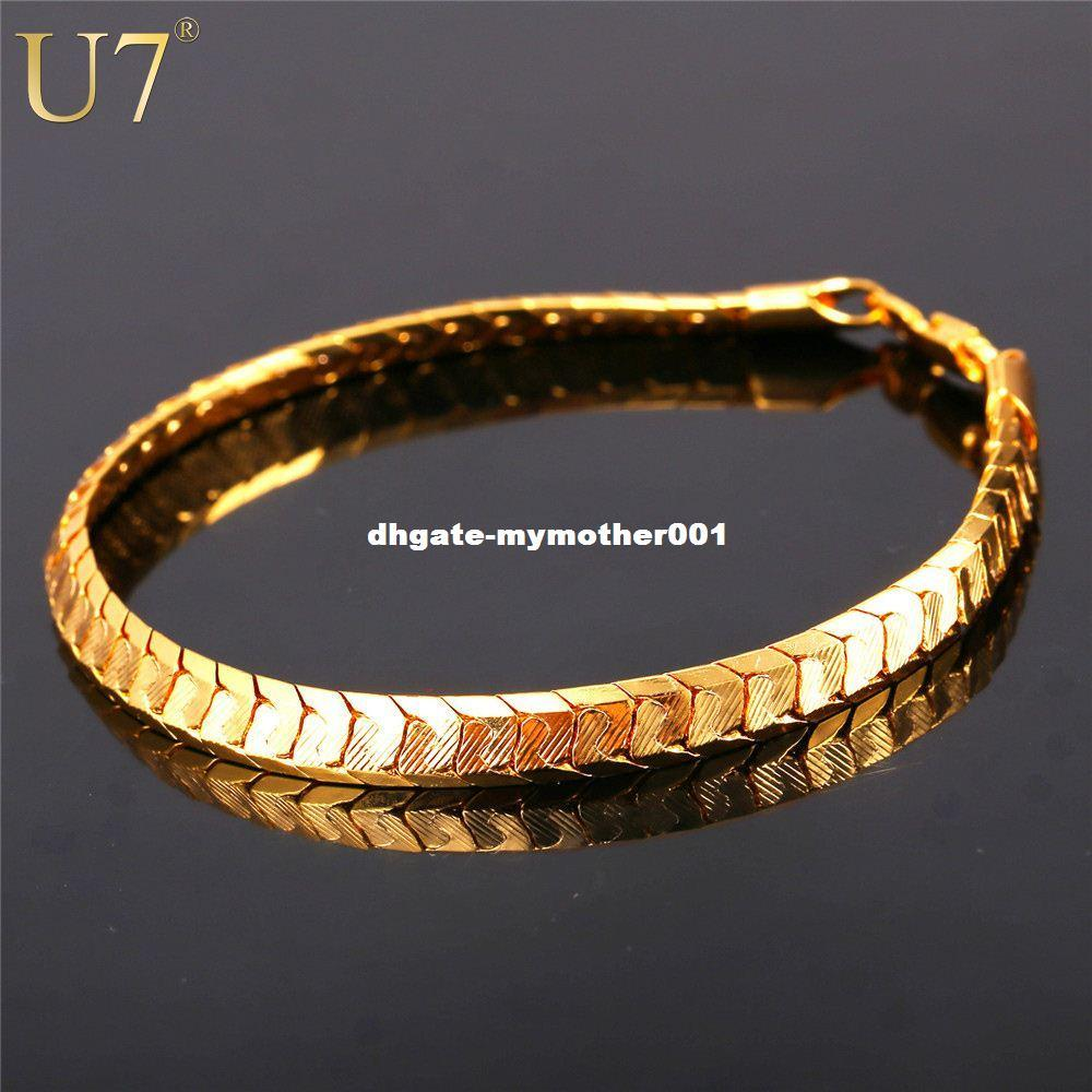 5332e12532ddf U7 Scale Chain Bracelets For Men Jewelry Gold/Platinum Plated Mens  Bracelets 2016 Fashion Indian Jewelry Wholesale H811
