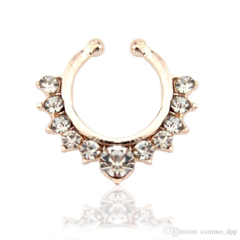 Hot sale Crystal fake septum Nose Rings piercing clip on body jewelry faux hoop Ladies nose Studs for women Fashion Jewelry