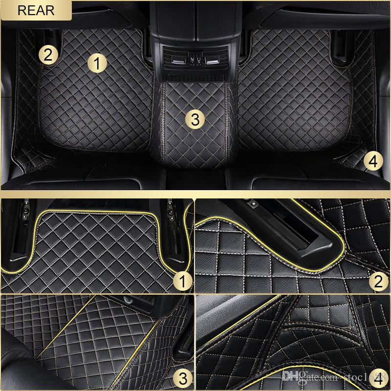 SCOT All Weather Leather Car Floor Mats for Cadillac ATS Waterproof 3D Anti-slip Front & Rear Carpet Custom-Fit Left-Hand-Driver-Model
