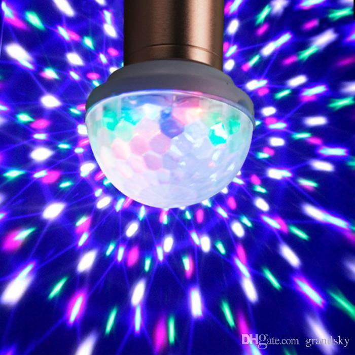 Q7 mikrofon cep telefonu için Renkli KTV Flaş Sahne Işık Döner 2017 USB Ses Flaş KTV MiNi LED Küçük Magic Ball Ses Kontrolü