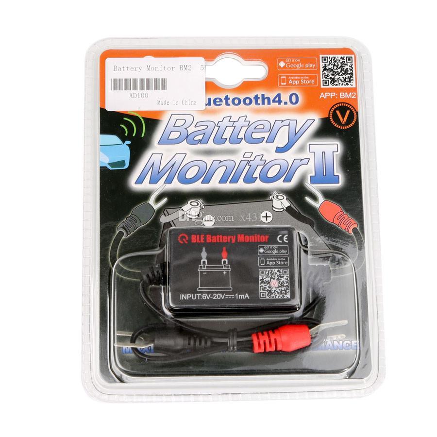 Probador de la batería del Bluetooth 12V QUICKLYNKS BM2 Monitor de la batería del coche Analizador de la batería del coche Prueba de voltaje de la prueba de arranque Cranking para Android IOS Phone