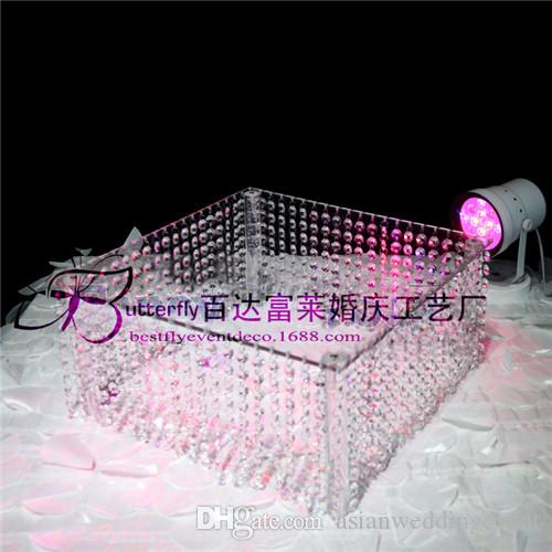 wedding crystal acrylic Cake Stand - 16 inches square cake display cupcake holder with bead strands