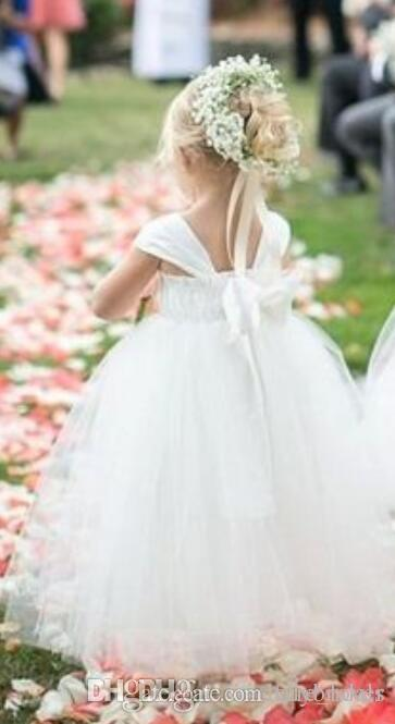 2017 Flower Girls Dresses Ball Gown Tulle Puffy Style Cap Sleeve Weddings Party Dress For Little Children Princess Custom Made Cheap Price