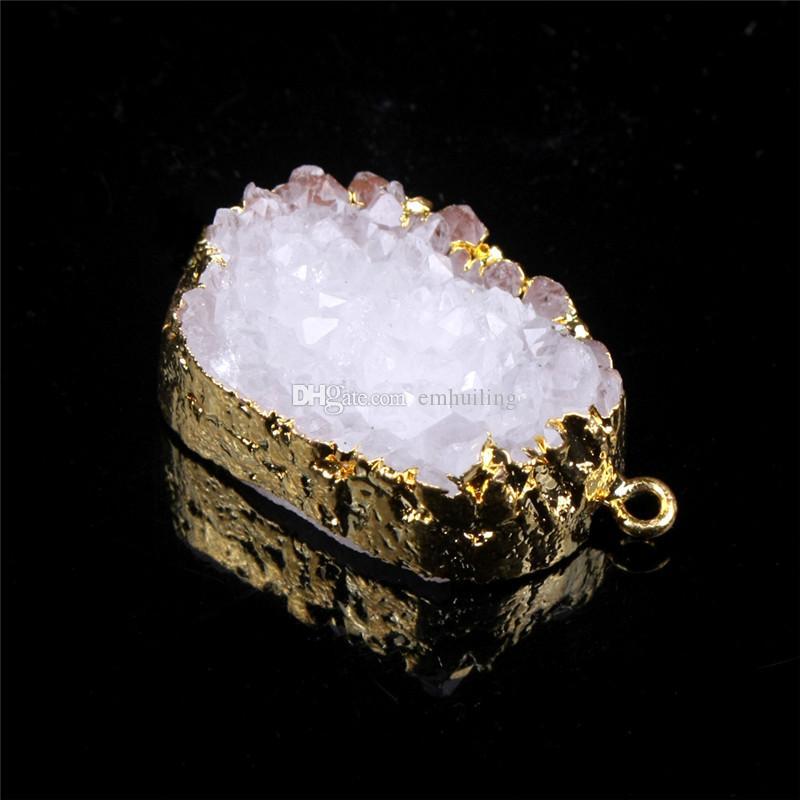 Premium Gold Bezel 20-40mm Drop Shape White Nature Druzy Cluster Gem Agate Pendant in Freefrom Personalized Quartz Geode Boho Stone One Hook