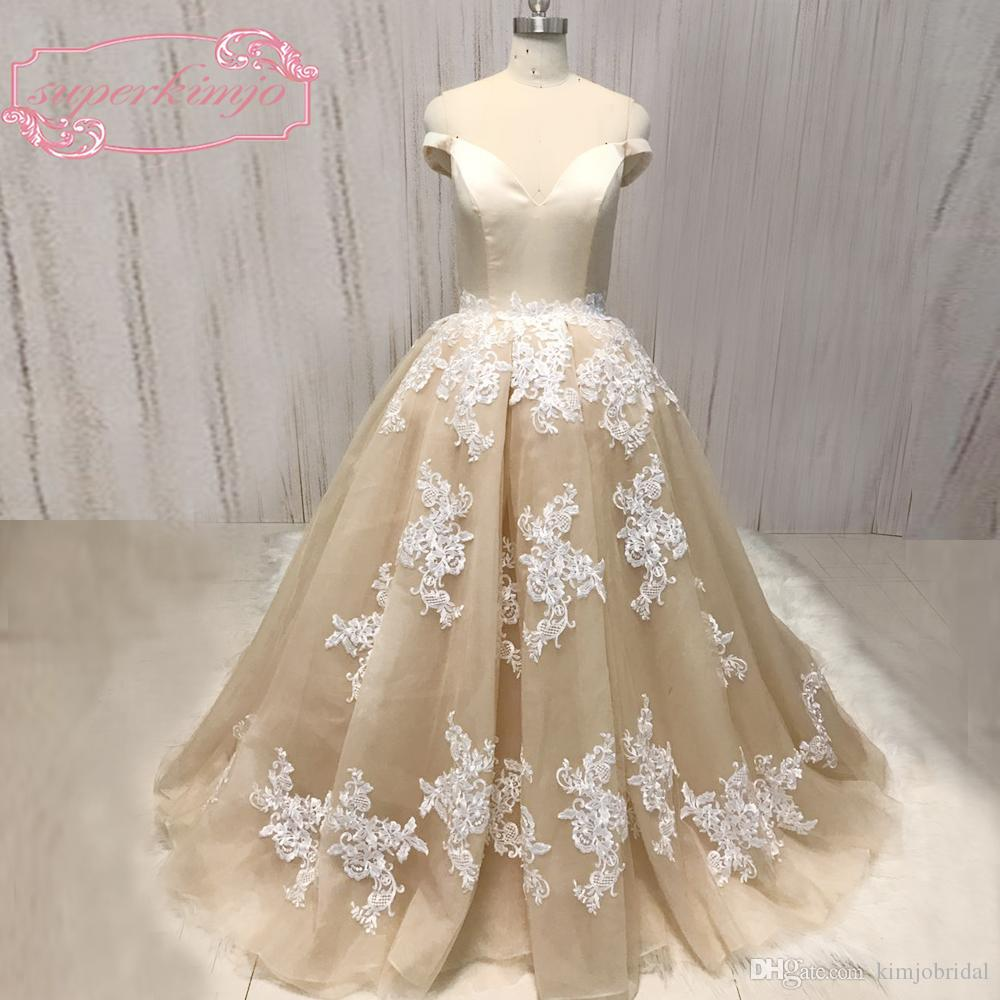 c05e763d79a Real Picture 2018 Ball Gown Prom Dresses Lace Appliques Champagne Organza  Tulle Floor Length Evening Dresses Prom Dress Shops In London Prom Dresses  For ...