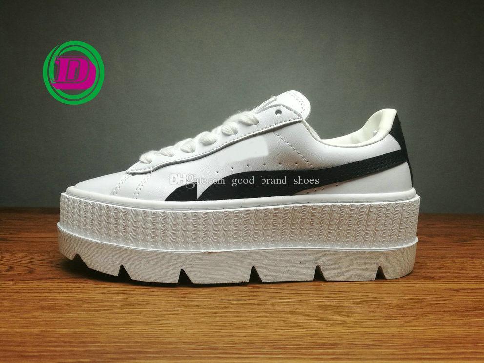 87da1e8efe5 Compre Venta Caliente FENTY Suede Cleated Creeper Mujeres Negro Marrón Blanco  Creepers Por Rihanna Zapatos Baratos De Alta Calidad Flatform Zapatos Con  Caja ...