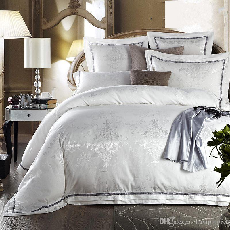 White Bedclothes Bed Set Jacquard Silk Home Textile Bedding Set Luxury 4/Satin Doona Duvet Cover Bed Sheet Linens King Queen Size