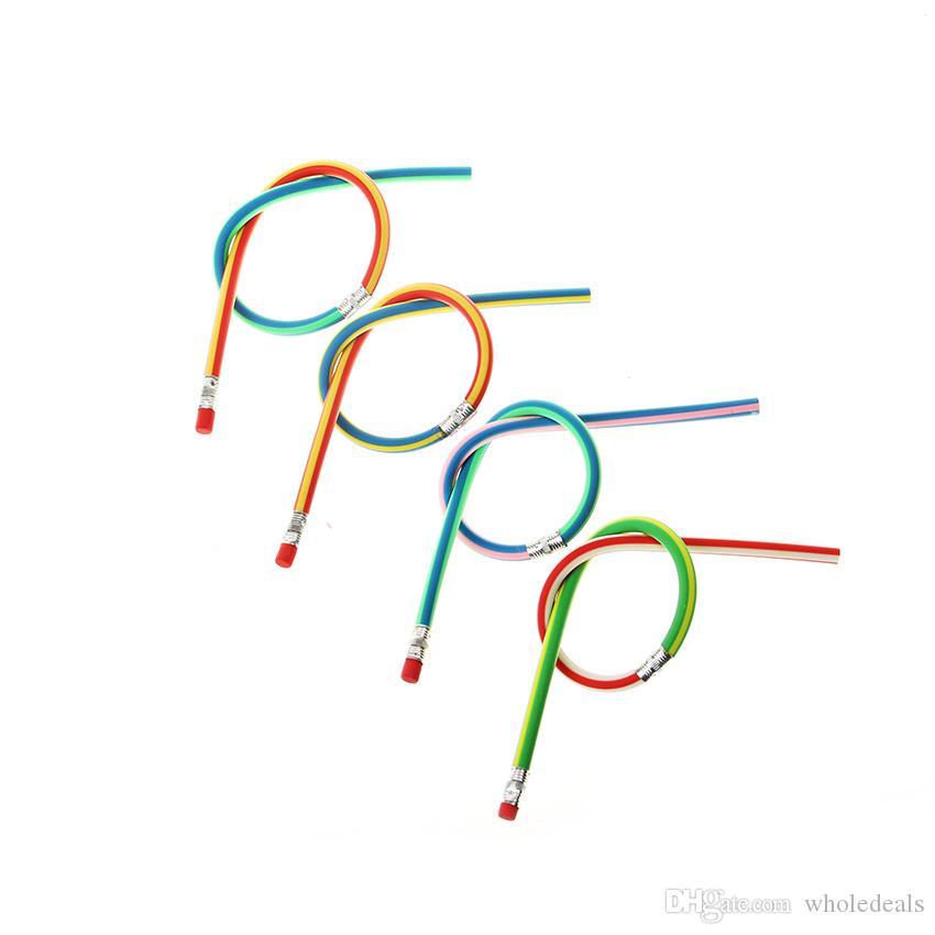 / Papeterie Mignonne Coloré Magie Bendy Flexible Crayon Doux avec Gomme Utilisation Du Bureau De L'école Des Étudiants