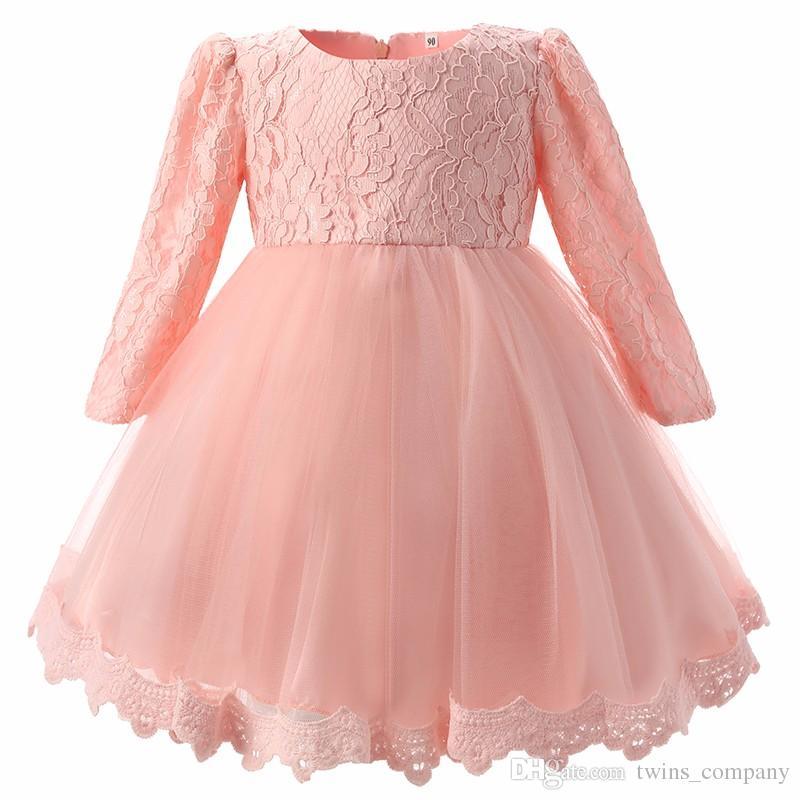 Für Mädchen Kleidung 0-2 Jahre Geburtstag Party Weiß Baby Mädchen Kleid Hochzeit Kinder Kleidung New Fashion Flower Lace Neugeborenen Tutu Kleid