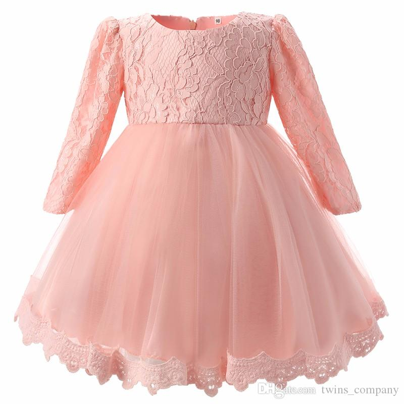 For Girls Clothes 0-2 Year Birthday Party White Baby Girl Dress Wedding kids clothing New Fashion Flower Lace Newborn Infant tutu Dress