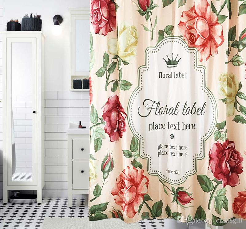 Hohe Qualität Rose Gedruckt Duschvorhänge Verdicken Polyester Bad Vorhänge Wasserdichtes Moldproof Stoff Floral Duschvorhänge Für Tür