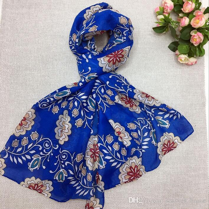 2017 Summer Design Bright Colors Big Flower Print Voile Cotton Infinity Scarf Scarf Large Size Long Scaves Women Beach Covers