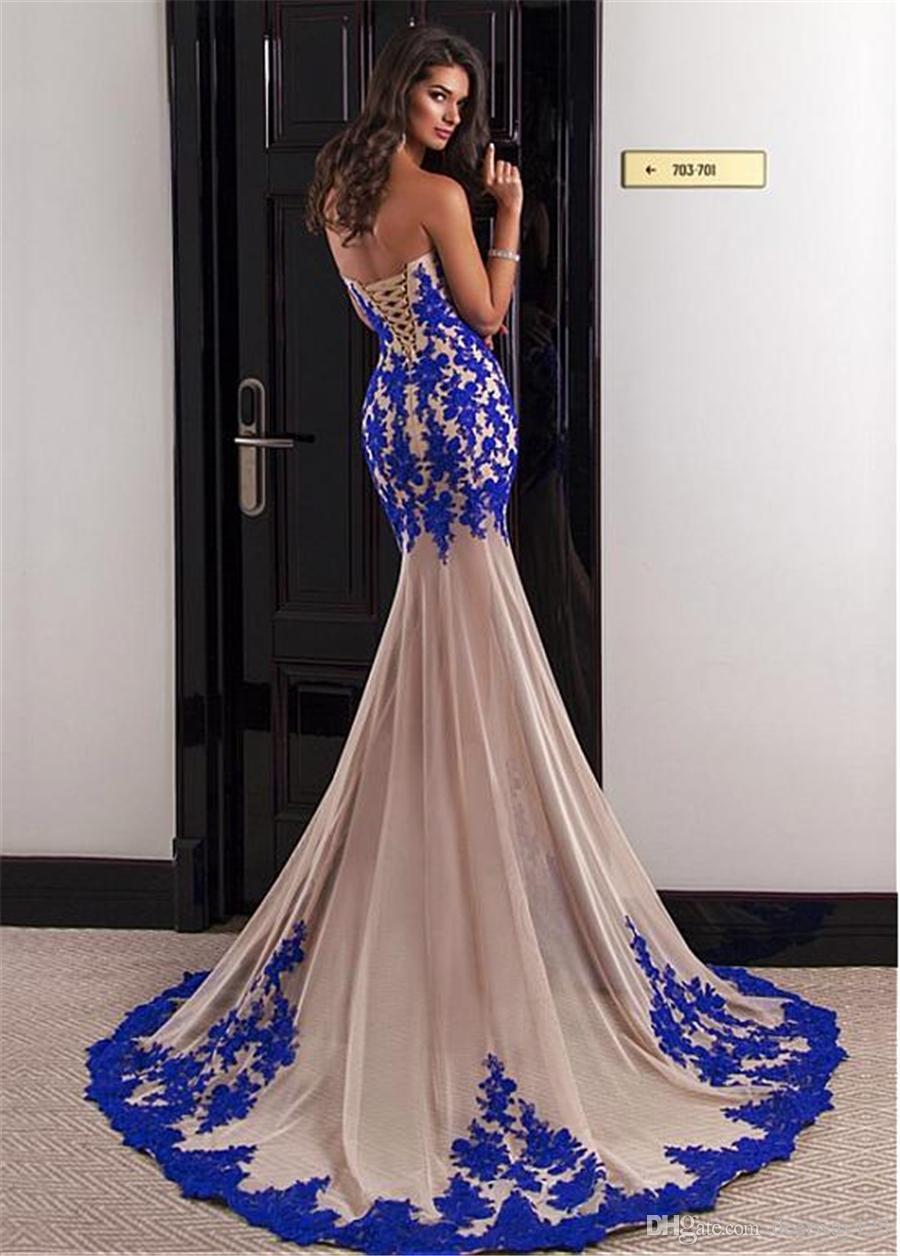 여아 복장을 가진 여아 목걸이 선인장 이브닝 드레스 로얄 블루 및 누드 슬림 파티 드레스 vestidos de fiesta largos