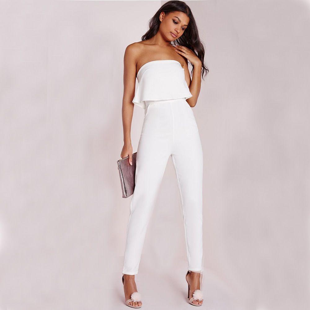 361bfaf3b809 Sexy Ladies blanco largo mono Slim Ruffles sin tirantes mamelucos elegantes  Ladies Party Runway pantalones traje ZSJG0301