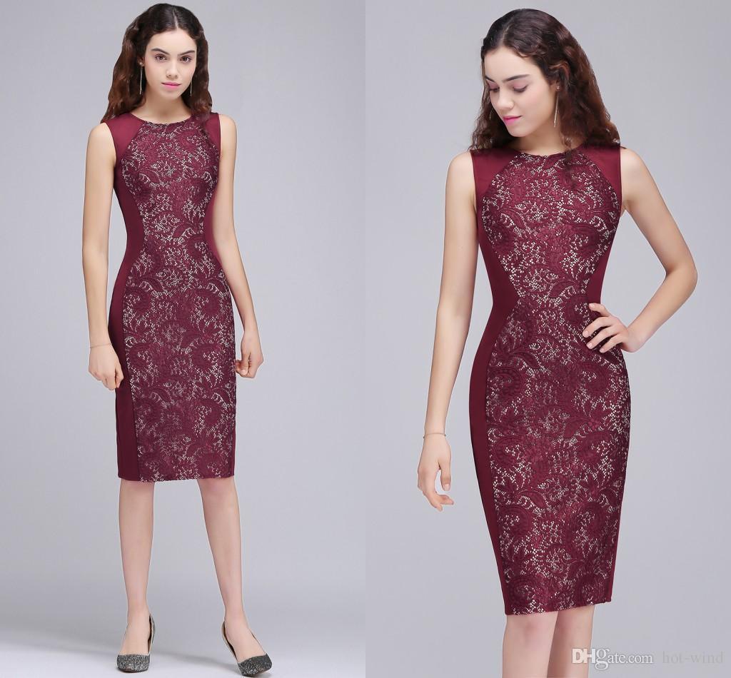 Elegant Burgundy Sheath Knee Length Short Prom Dresses 2018 New