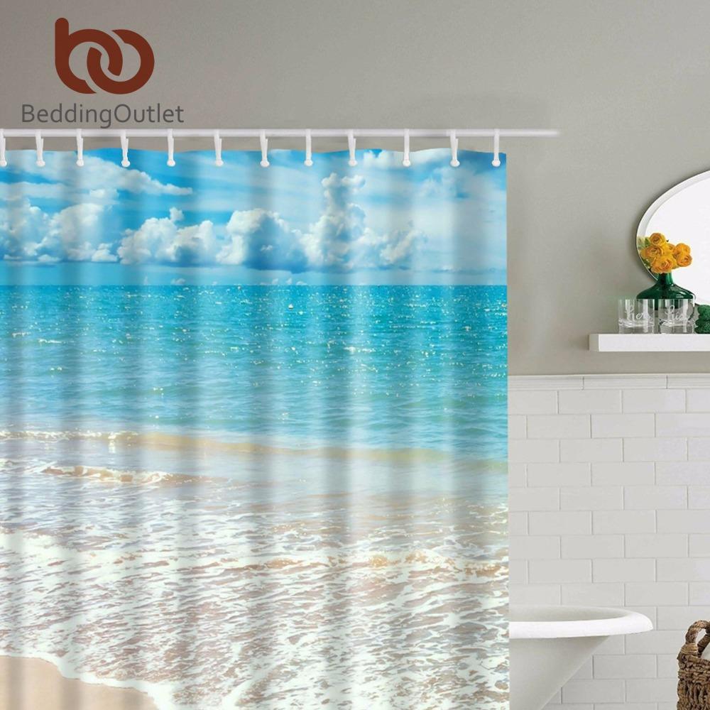 2018 Wholesale Beddingoutlet Tropical Island Beach Shower Curtain ...