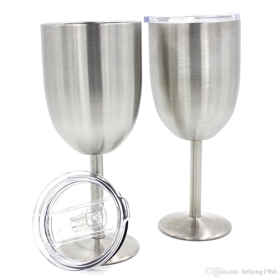 28hk Wine Glasses Stainless Steel Tumber With Lid 400ML Cups Metal Goblet Mug Double Walled Margarita Glass Cup New Arrival