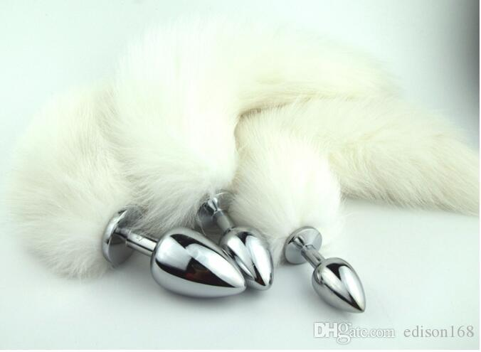 2017 Latest Sexy Stainless Steel Anal Plug With Real Fox Tail Butt Bead Anus Plug Adult Bdsm Product Sex Toy Size S M L