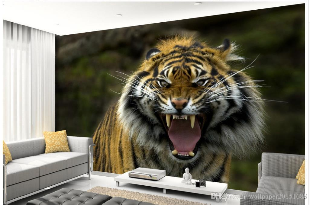 Tiger photography TV set wall mural 3d wallpaper 3d wall papers for tv backdrop