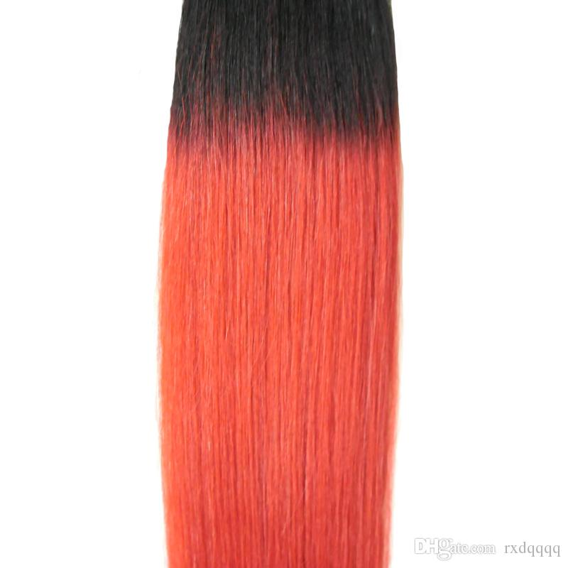 1B/RED Brazilian Virgin Ombre Hair Tape In Human Hair Extensions Straight Skin Weft Hair 50g