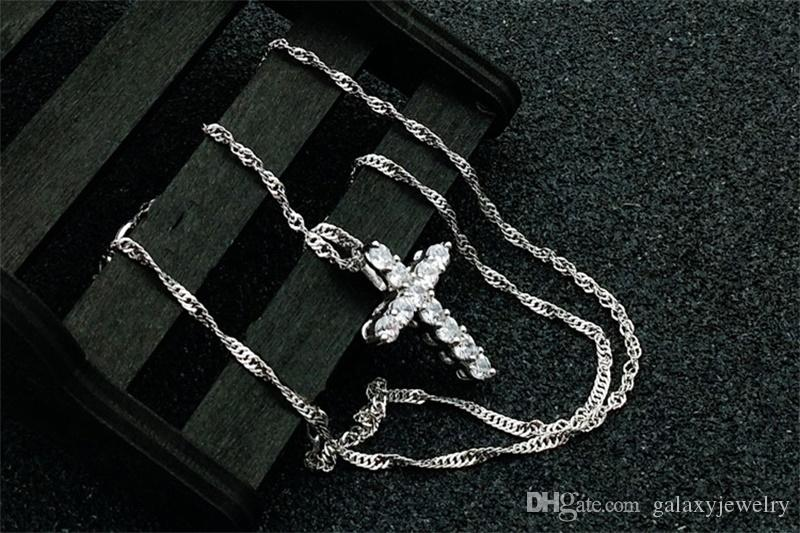 YHAMNI Luxo Original 925 Sterling Silver Cruz Pingente de Colar de Princesa de Luxo Pingente de Colar de Diamante para Senhoras e Mulheres N10