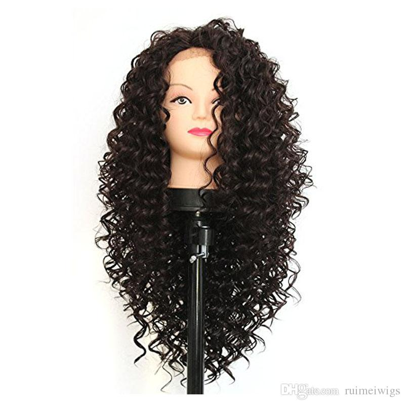Long Afro Kinky Curly Synthetic Lace Front Wigs For Black Women Heat Resistant Half Hand Tied Fiber Hair Black Color Synthetic Wigs