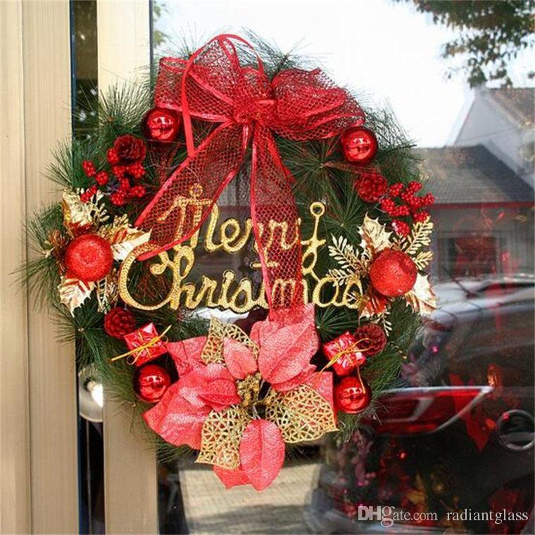 Ghirlanda di Natale decorazioni natalizie 50CM Aghi di pino Ghirlande Impiccagioni Oro Decorazione natalizia Anello Regalo di Natale