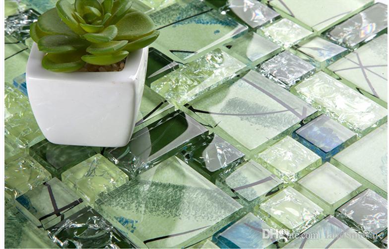 Acquista piastrelle in mosaico di cristallo verde vetro piscina