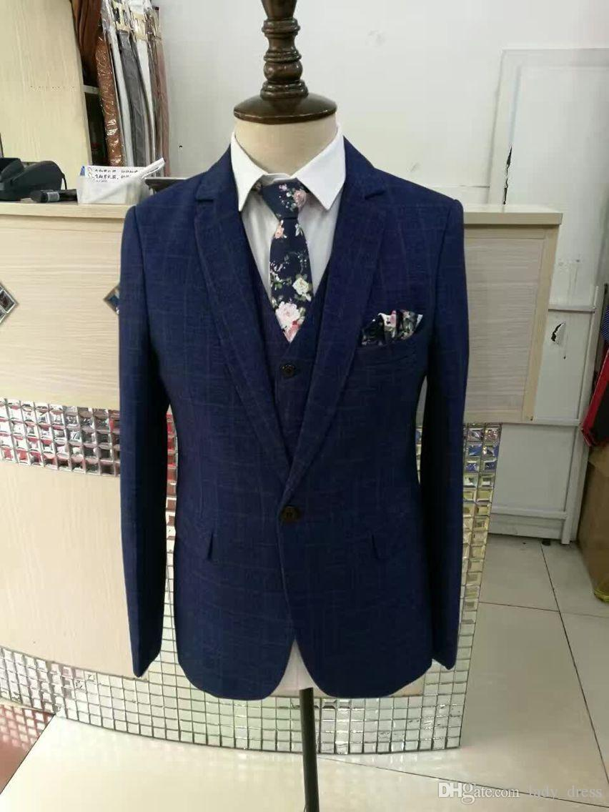 Dark Blue Real Photos Men suits V-Neck long sleeves Men Tailor Suruimei Factory in China