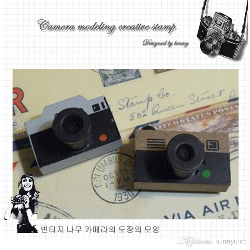 Vintage macchina fotografica in legno timbro fai da te decalcomania scrapbooking timbro zakka cancelleria bambini ragazza regalo di compleanno bambini bomboniere zA2244