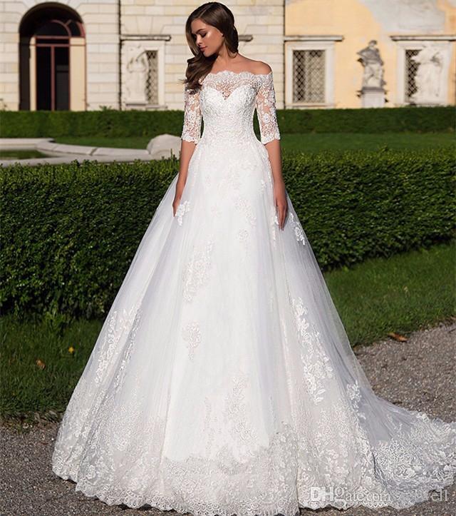 A Line White Tulle Wedding Dress 2017 Arabic Bridal: Discount 2017 A Line Tulle Wedding Dress Elegent