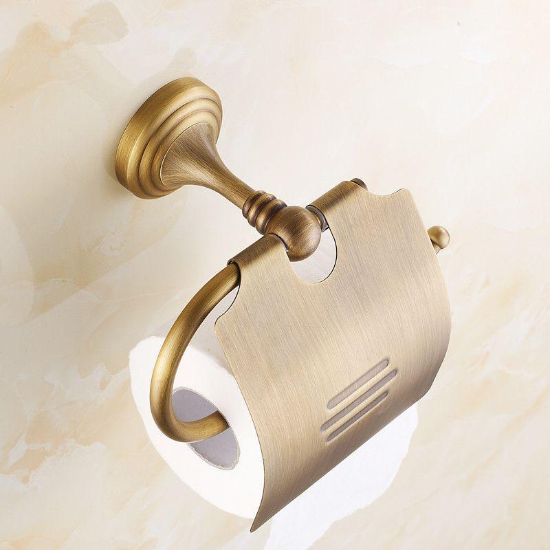 European Full Copper Toilet Paper Holder Classic Retro Roll Paper Towel Box Antique Brass Bathroom Accessories