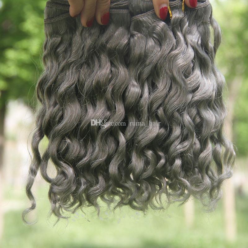 Gris plata profundamente rizado Extensiones de cabello humano gris pelo humano brasileño teje gris oscuro onda rizada extensiones nuevo llega Venta