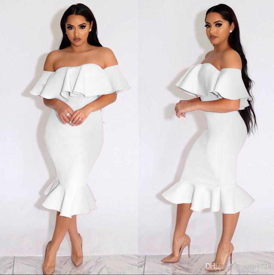 2017 Fashion Mermaid Ruffles Sheath Women Party Dresses Off Shoulder Short Puffy Sleeve Half Sleeves plus size 2XL